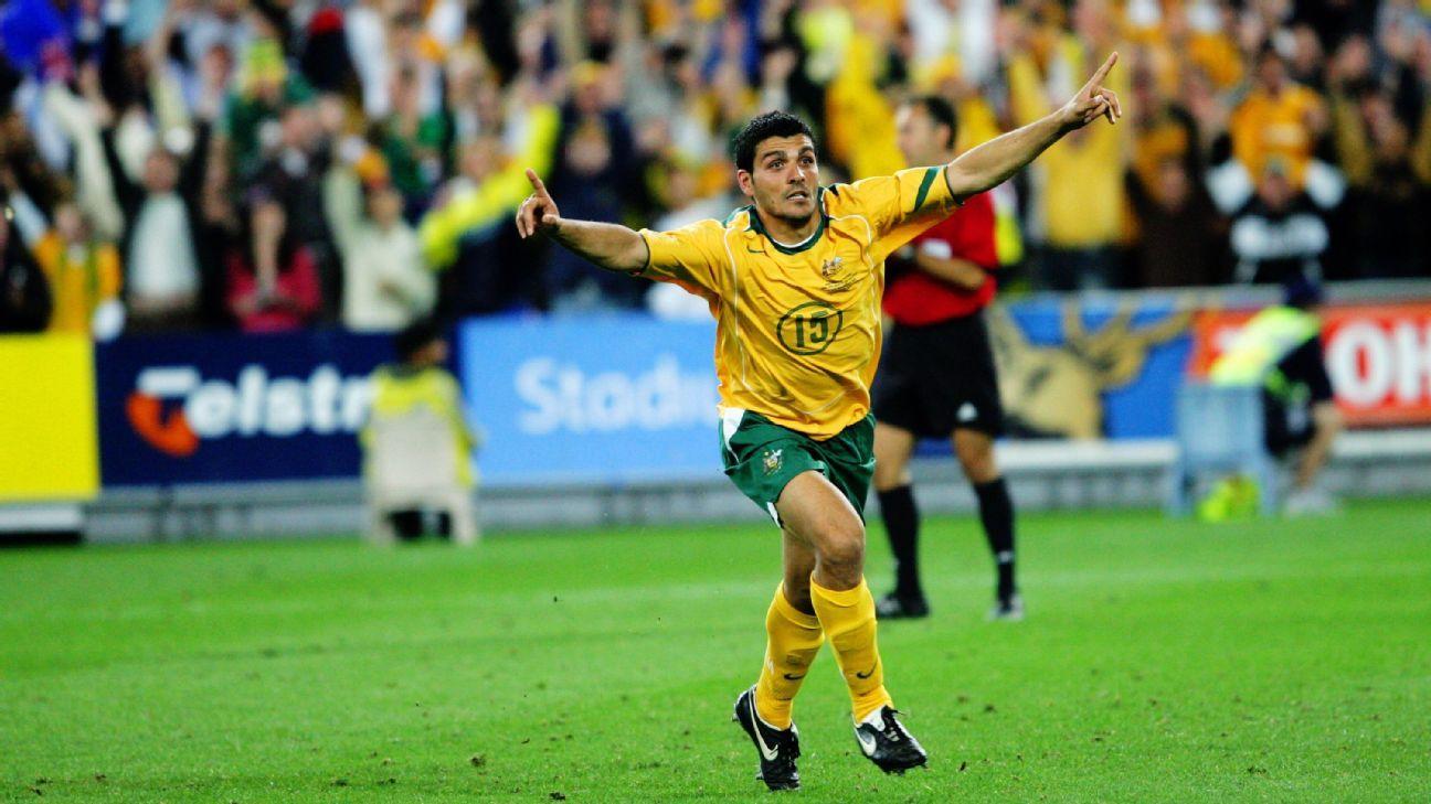 Australia striker John Aloisi wins 2006 playoff v Uruguay