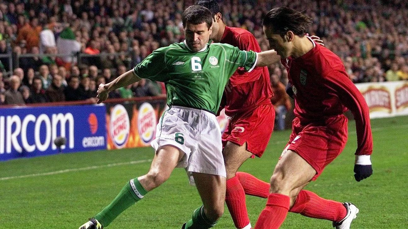 Roy Keane of Ireland vs. Iran's Ali Karimi in 2002 playoff
