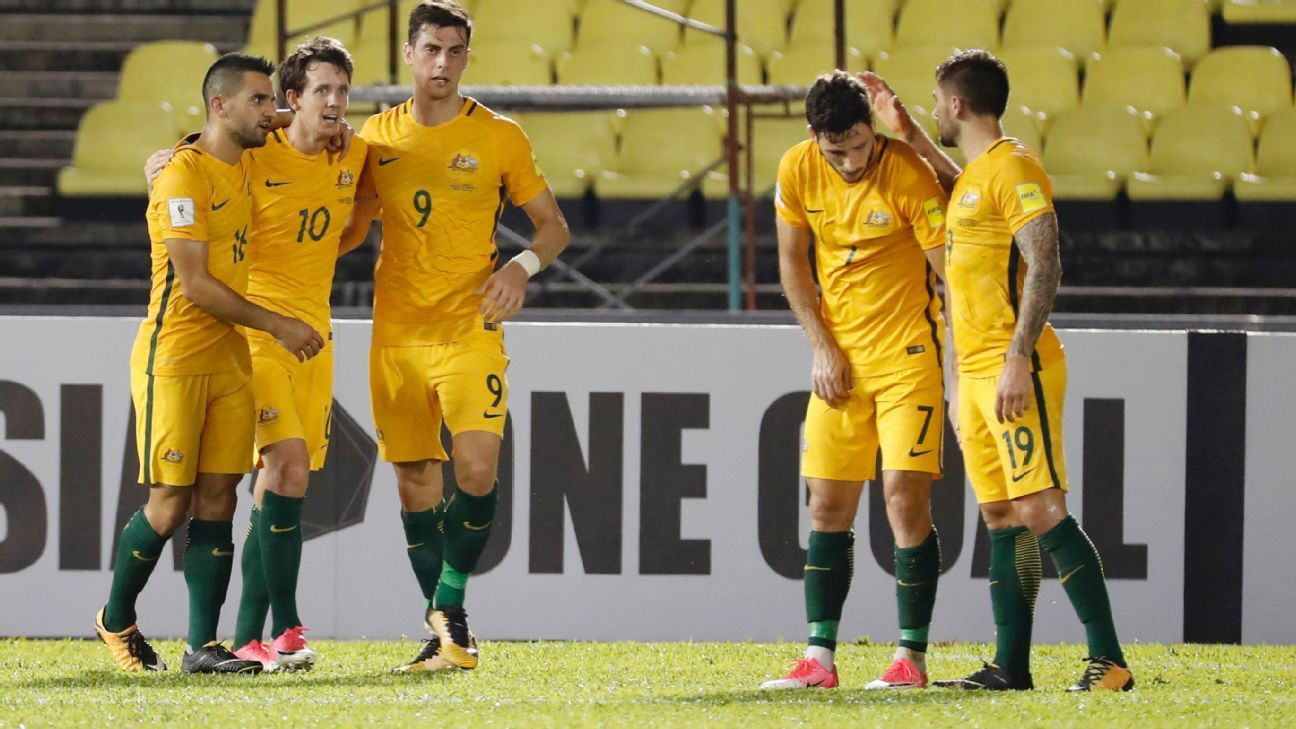 Robbie Kruse celebrates after scoring for Australia against Syria.