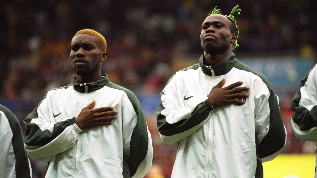 Taribo West and Jay-Jay Okocha of Nigeria
