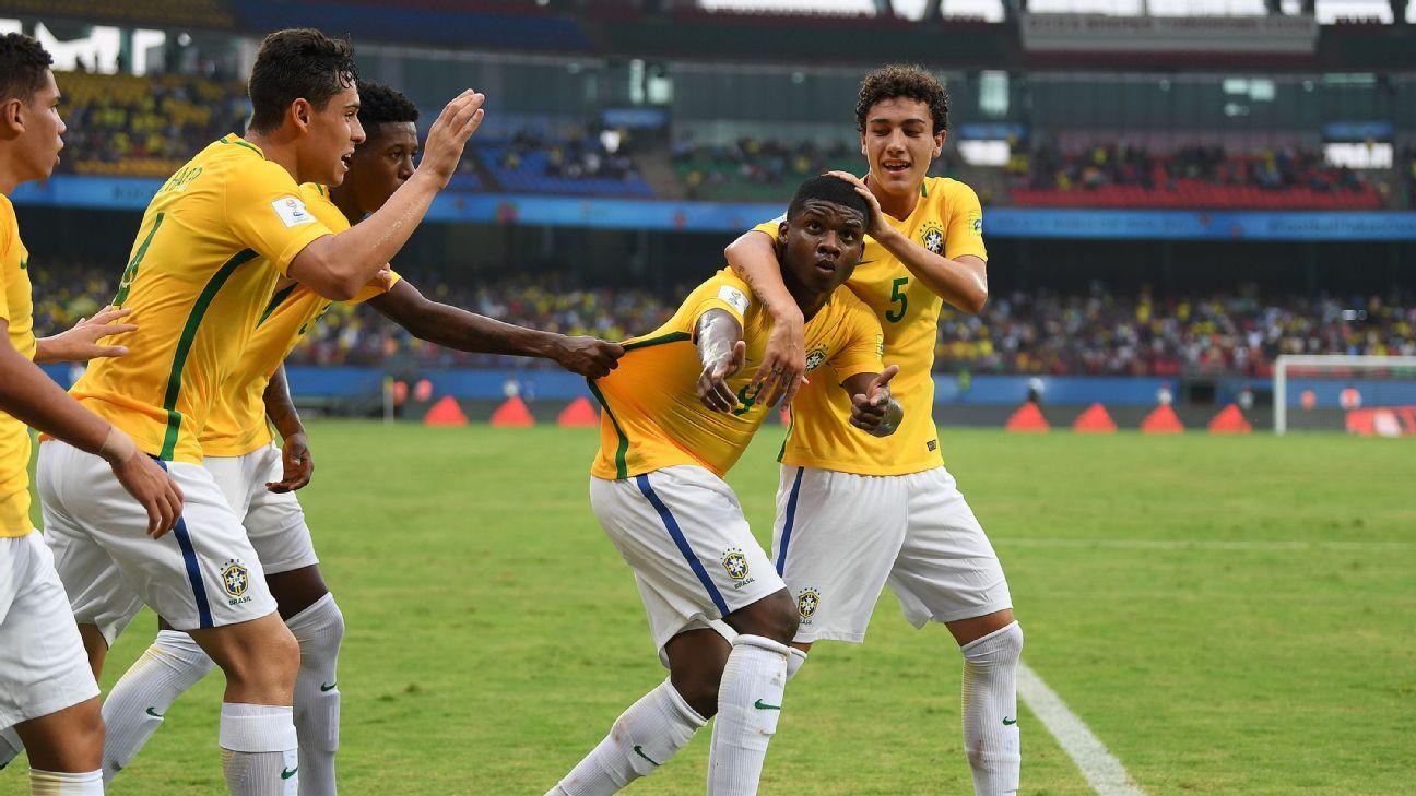 Lincoln celebrates Brazil's equalizer vs Spain.