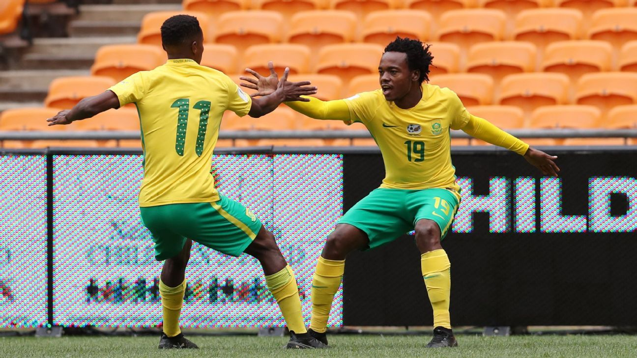 Percy Tau and Themba Zwane of South Africa
