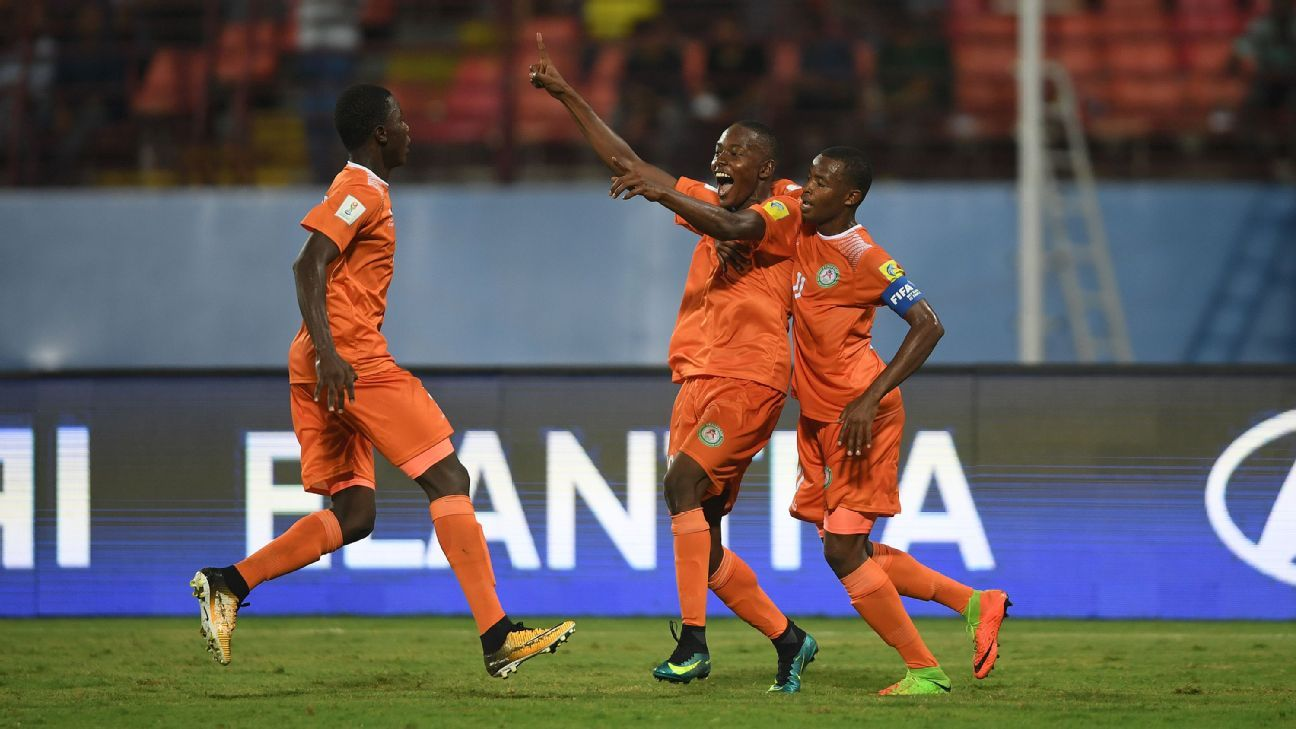 Niger's Salim Abdourahmane celebrates his goal against North Korea.