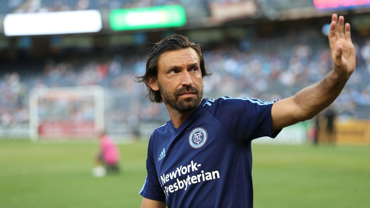 Andrea Pirlo before New York City's MLS fixture against Toronto.