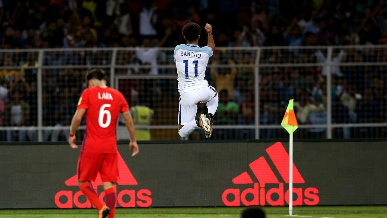 England's Jadon Sancho celebrates his goal against Chile.
