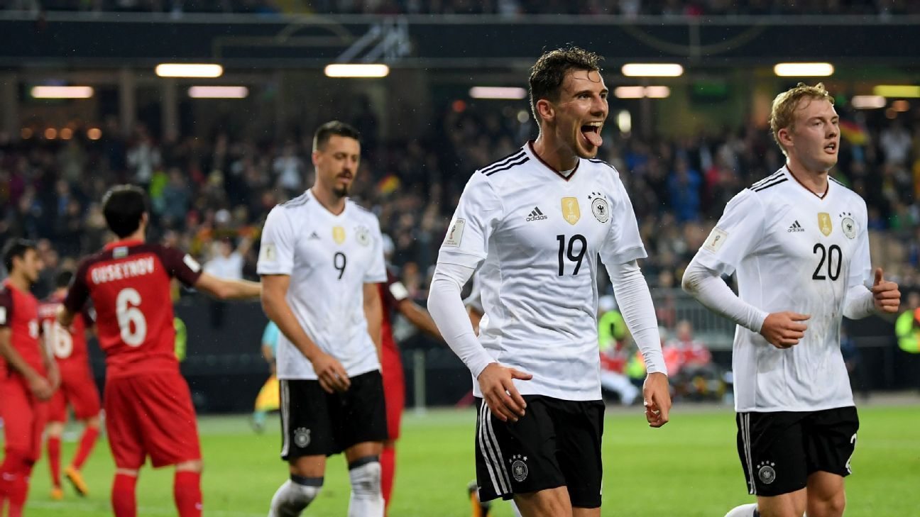 Leon Goretzka celebrates after scoring a goal for Germany in a World Cup qualifier against Azerbaijan.