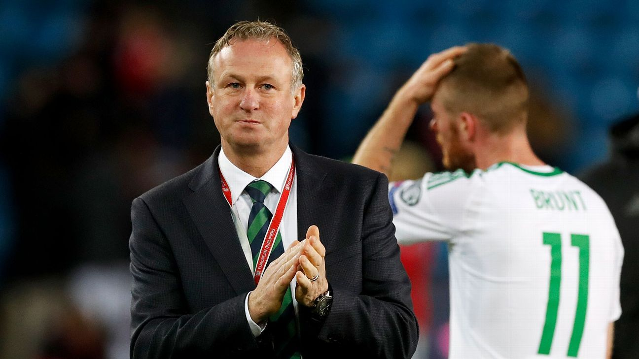 Michael O'Neill applauds his team after a loss to Norway due to an own goal from Chris Brunt, right.