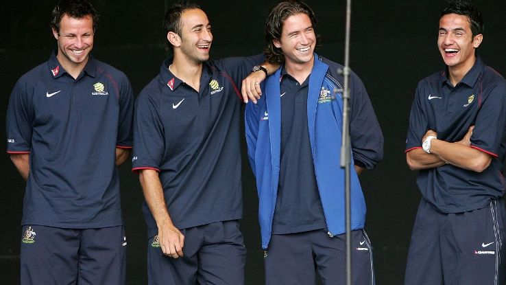 Harry Kewell and Tim Cahill celebrate qualifying for 2006 World Cup
