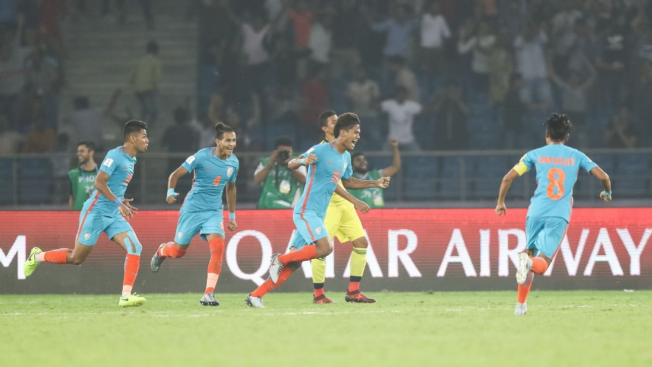 Jeakson Singh Thounaojam (second from right) scored India's only goal at a FIFA event, in the group stage match against Colombia.