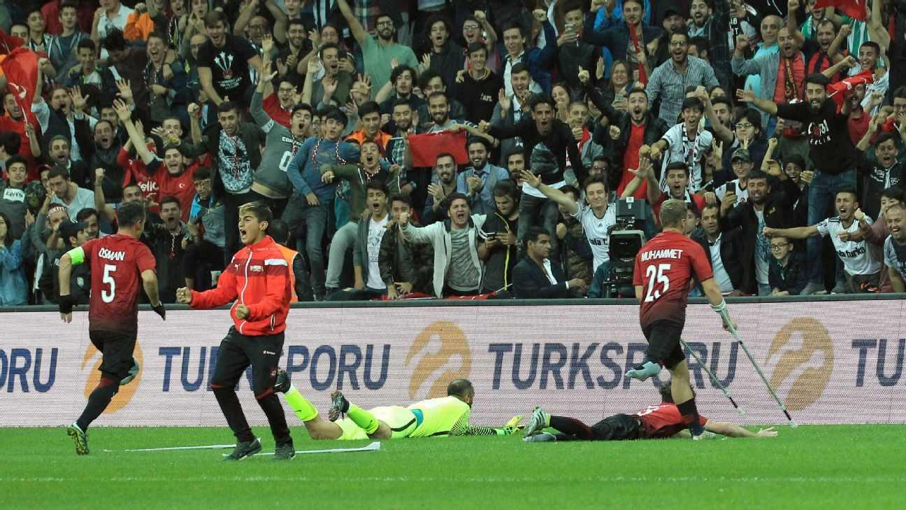 Turkey's Omer Guleryuz celebrates his opening goal in European Amputee Football Federation (EAFF) European Championship final