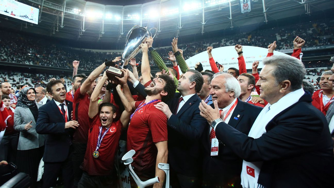 Turkey lift the European Amputee Football Federation (EAFF) European Championship trophy