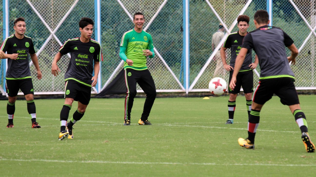 Mexican players at a training session ahead of their U-17 World Cup match against England, in Kolkata.
