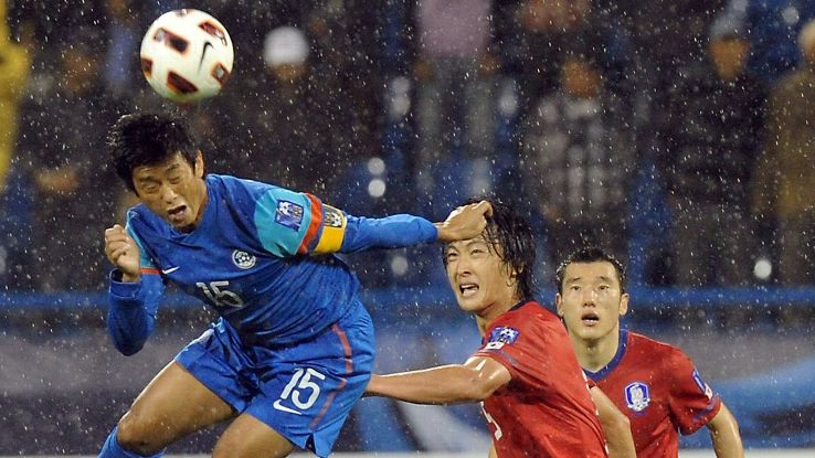 Bhaichung Bhutia in action against South Korea during the 2011 AFC Asian Cup