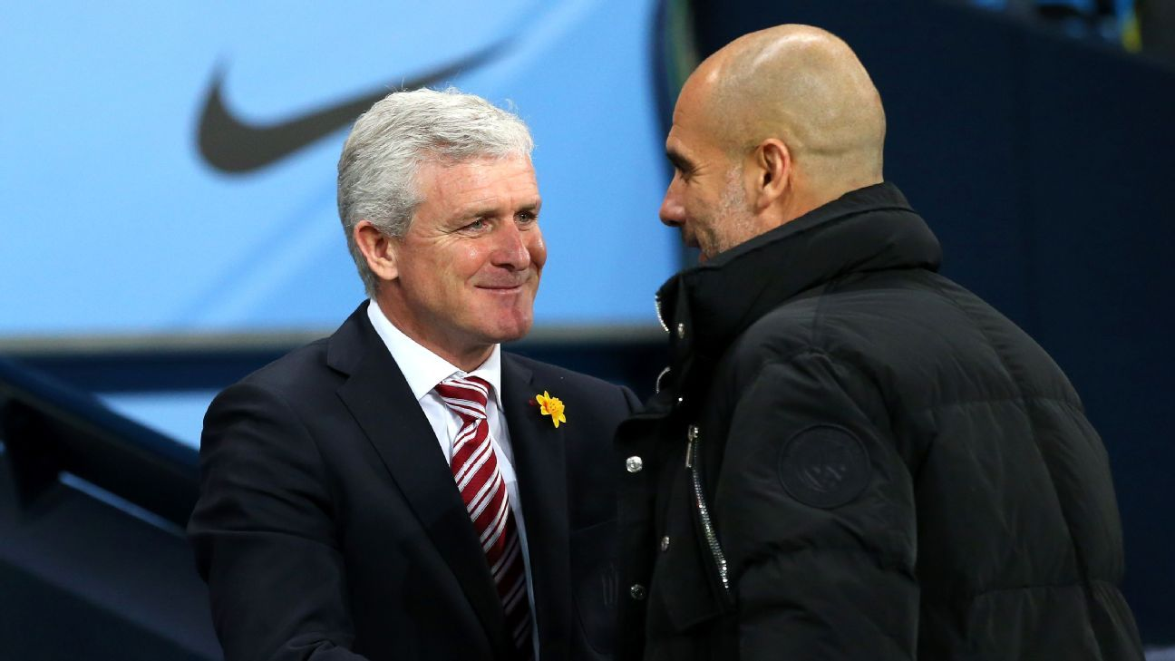 Mark Hughes and Pep Guardiola