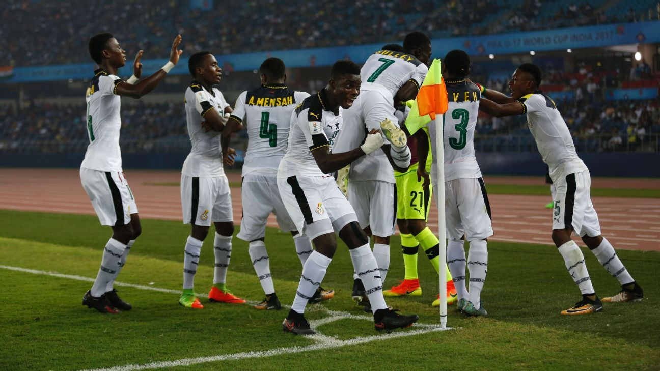 Ghanaian players celebrate a goal against India in New Delhi on Thursday.