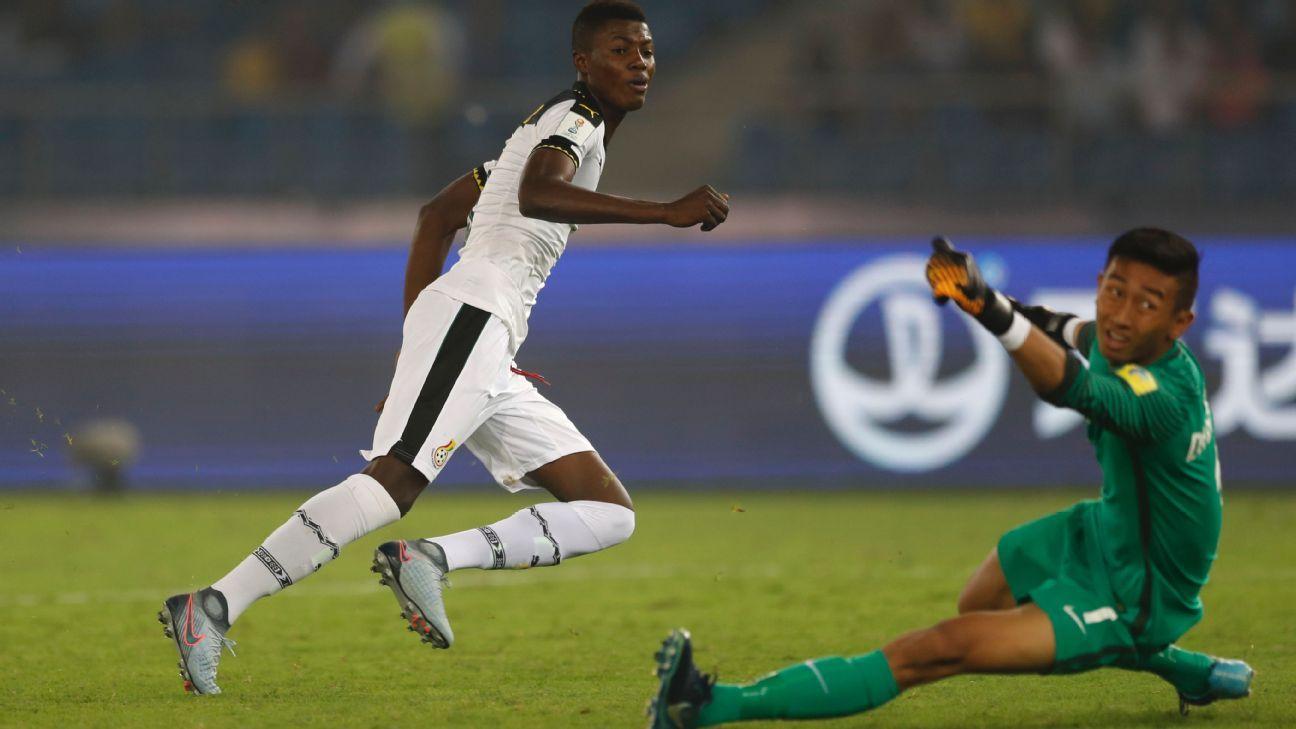 Ghana's Richard Danso scores against India in New Delhi on Thursday.