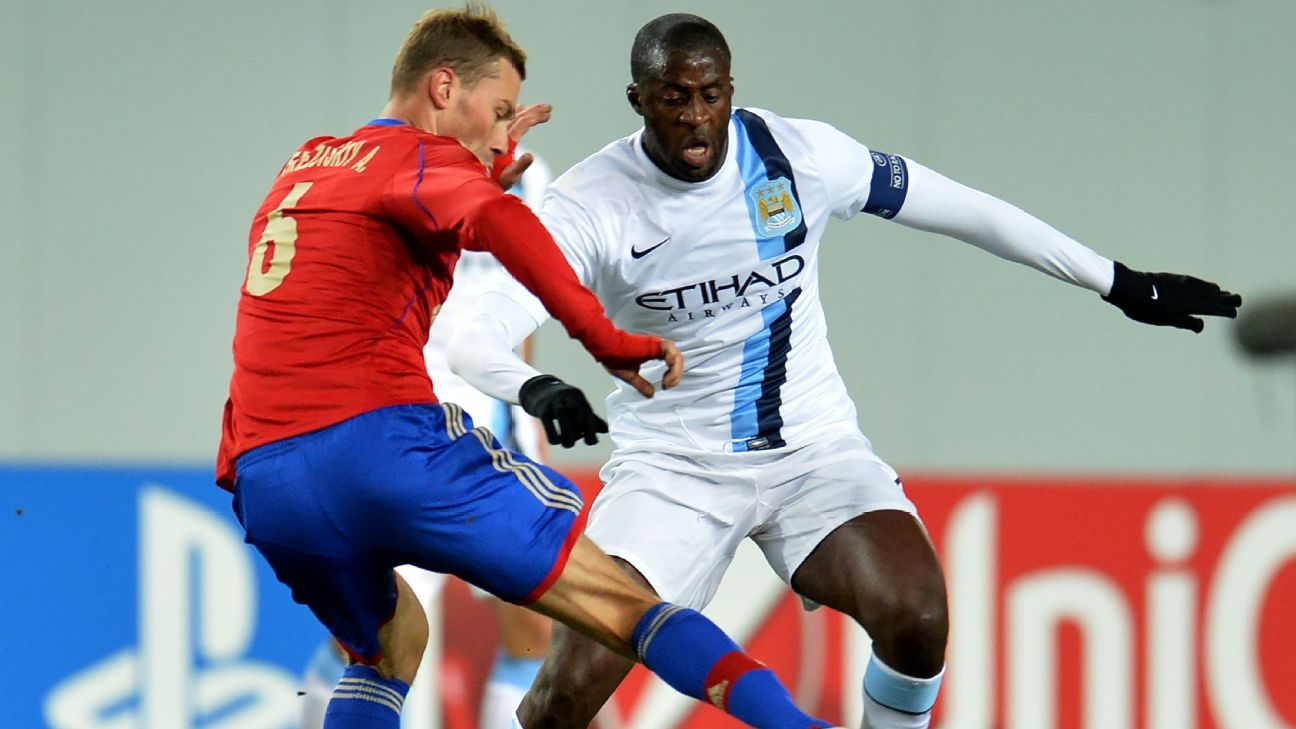 Yaya Toure playing for Manchester City against CSKA Moscow in 2013