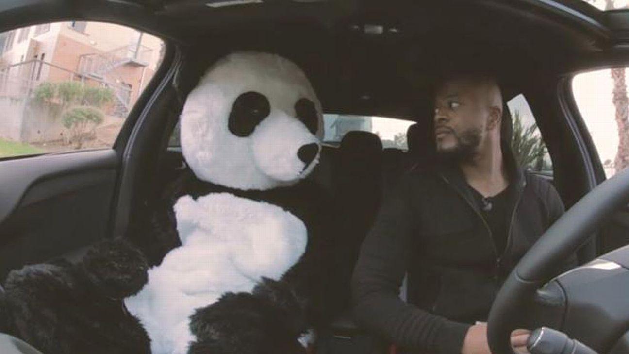 Patrice Evra shows some tough love toward his panda mascot