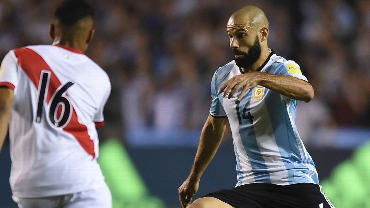 Javier Mascherano in action for Argentina against Peru.