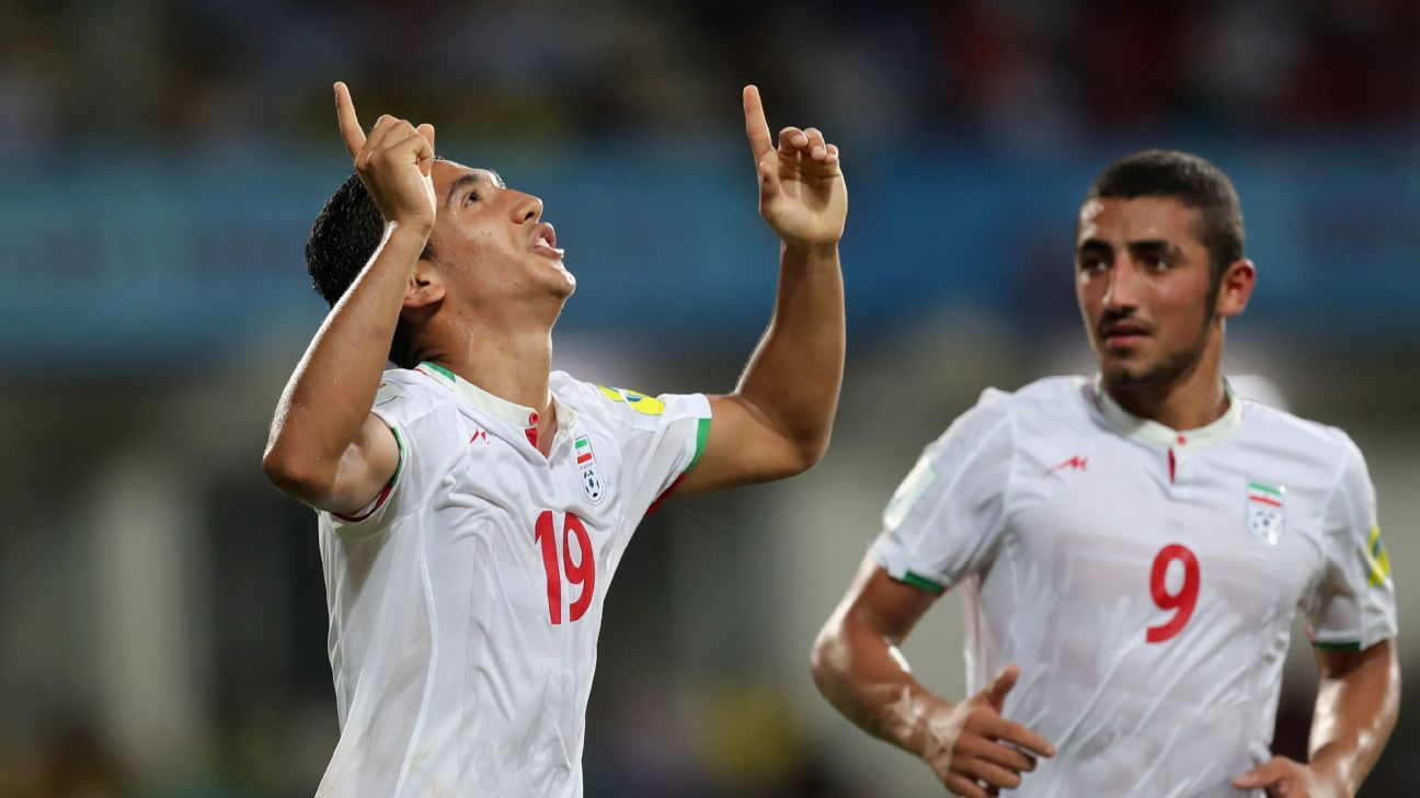 Iran's Mohammad Sardari celebrates his goal against Costa Rica.