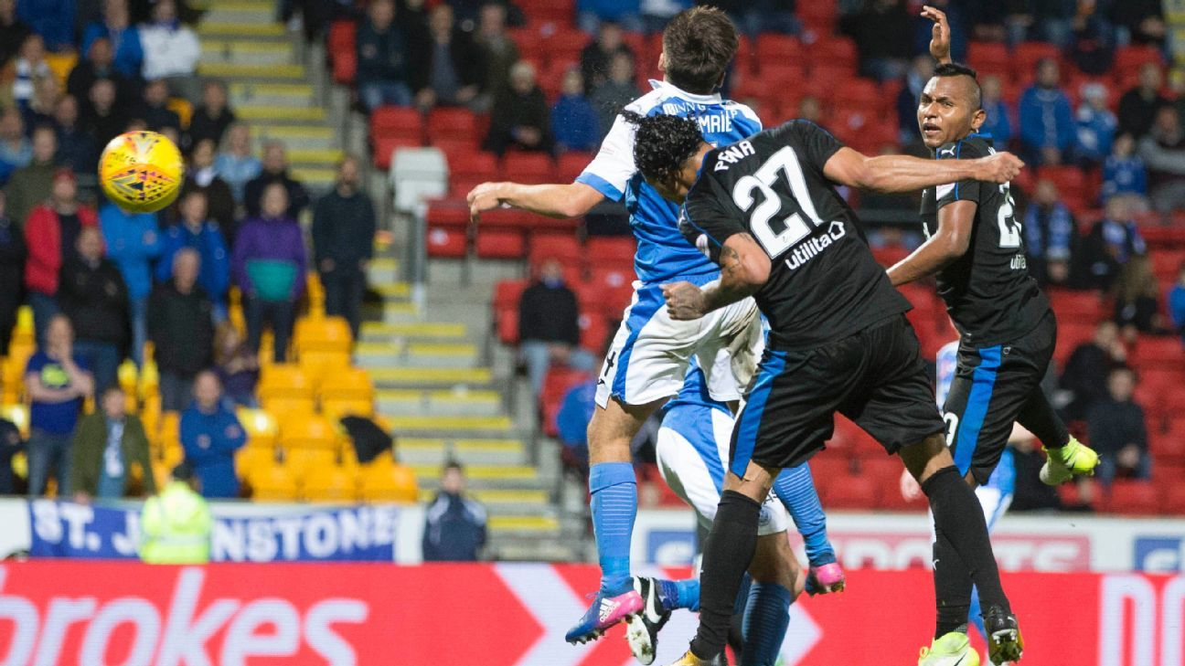 Rangers Carlos Pena scores his side's second goal of the game in a win against St Johnstone.