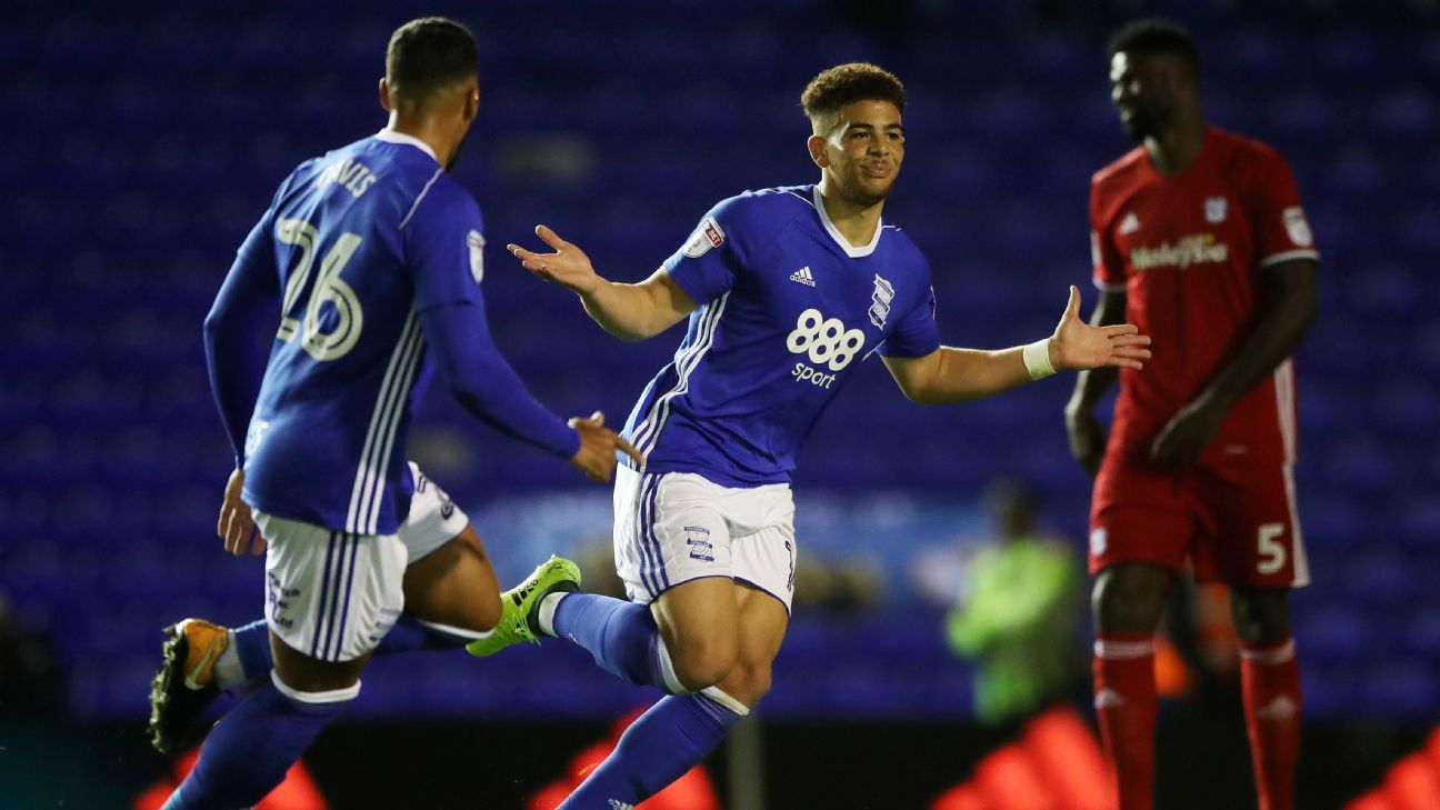 Birmingham City's Che Adams celebrates scoring the only goal in a 1-0 win against Cardiff City.