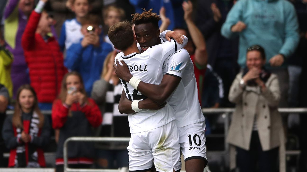Tammy Abraham celebrates after scoring a goal in Swansea City's win against Huddersfield.