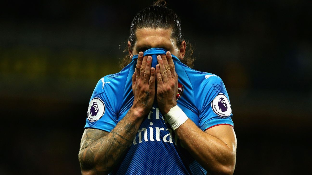 Hector Bellerin reacts after conceding a penalty to Watford in a 2-1 loss for Arsenal.