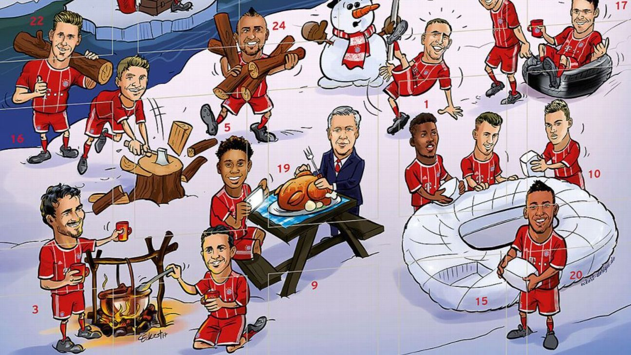 Carlo Ancelotti appears on Bayern Munich's official advent calendar
