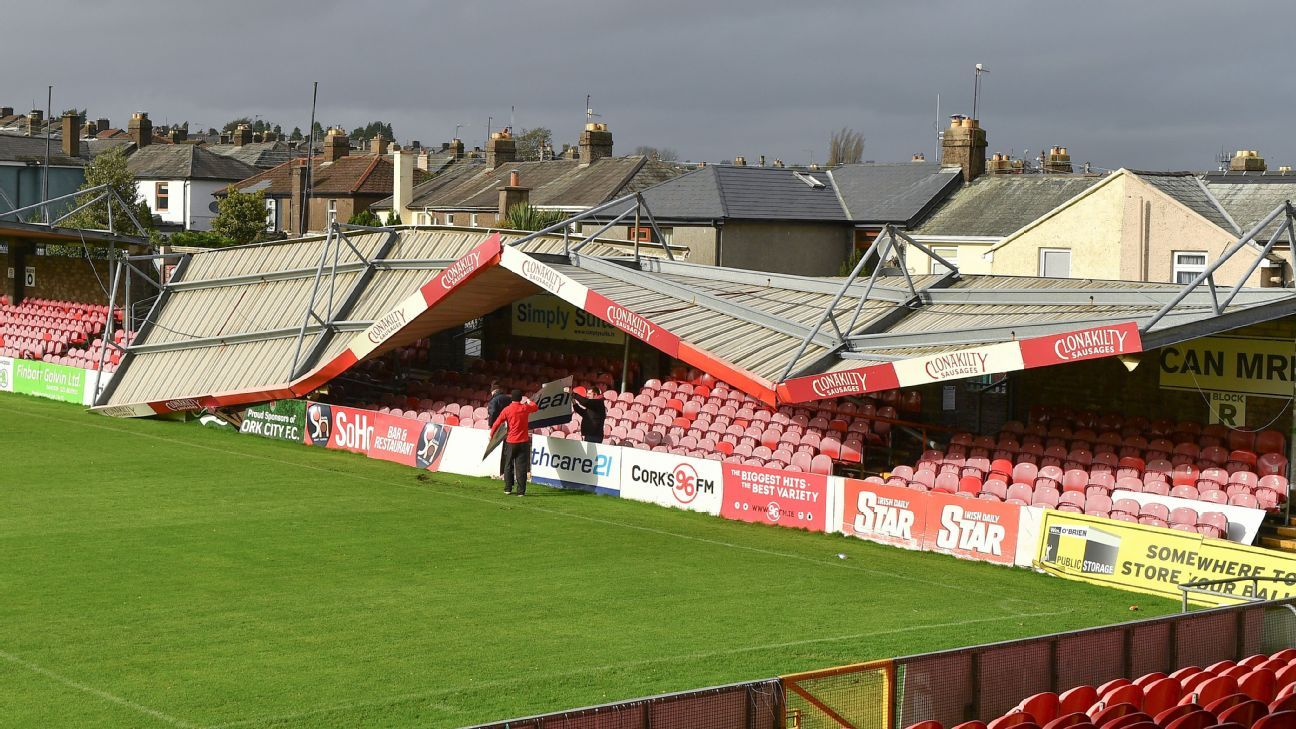 Cork City's Turners Cross Stadium suffered severe damage due to Storm Ophelia