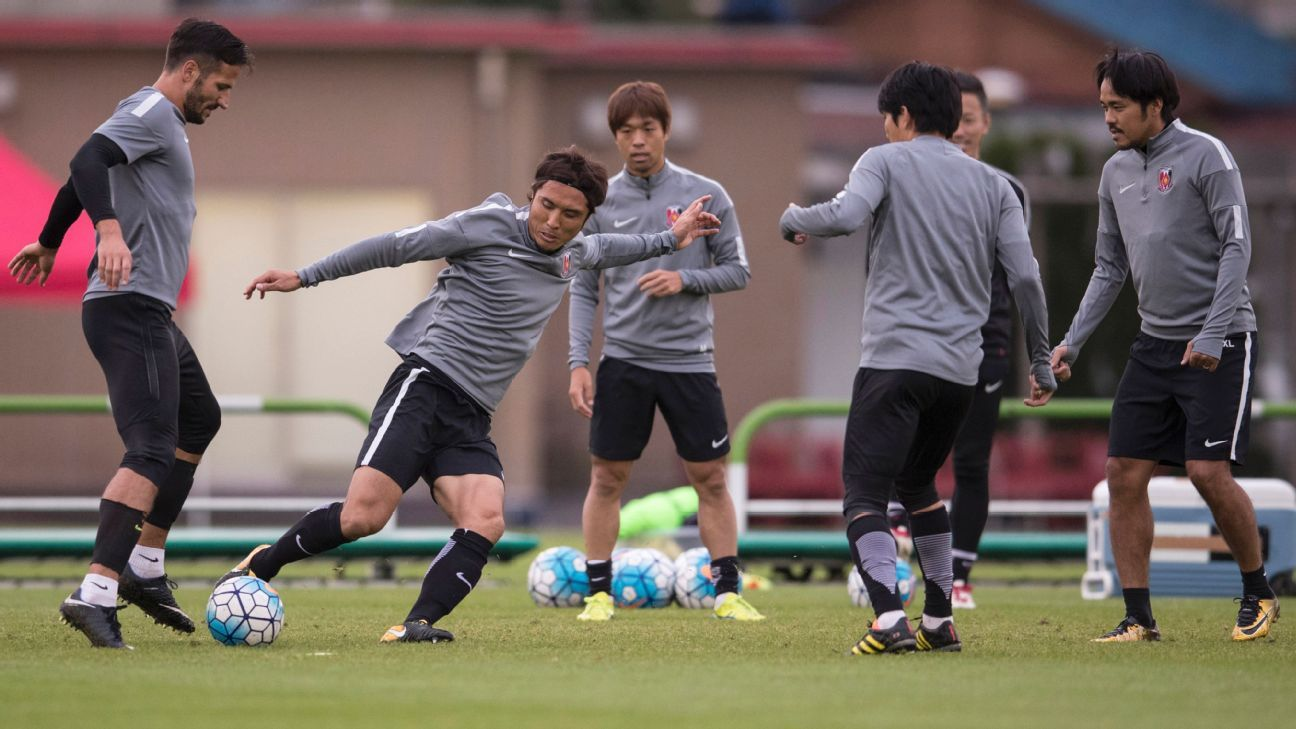 Players of Urawa Red Diamonds attend a training session ahead of their AFC Champions League.