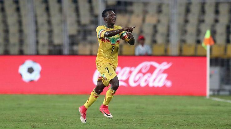 Hadji Drame celebrates Mali's opening goal.