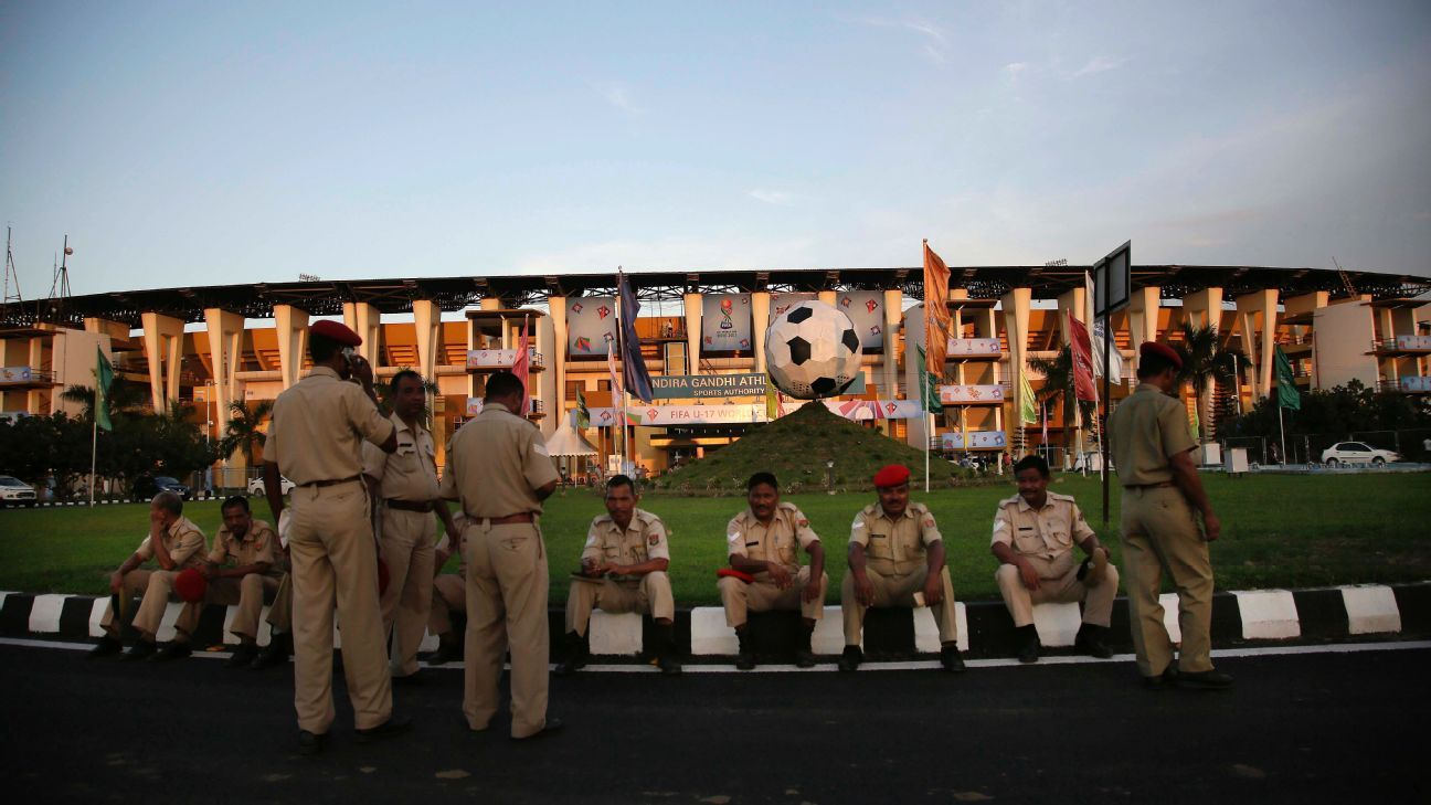 Security personnel outside Guwahati's Indira Gandhi Athletic Stadium, one of the venues for the U-17 World Cup.