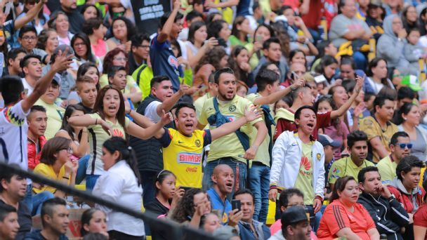 America fans cheer as the women's side played Pumas de la UNAM in their first Mexico City derby on Sept. 2 at Estadio Azteca.