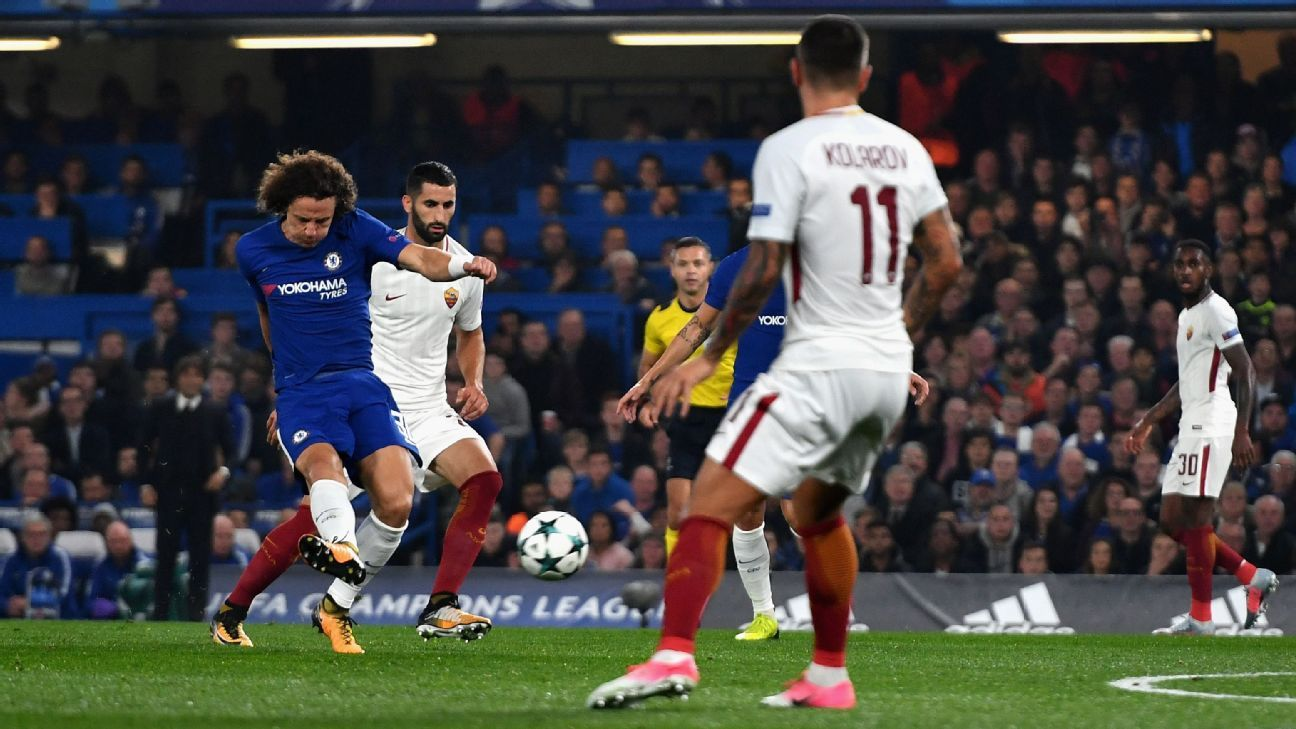 David Luiz of Chelsea scores his sides first goal during a Group C clash with Roma.