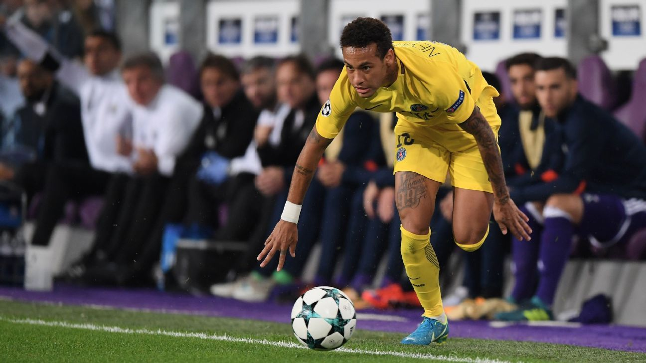 Neymar chases down the ball in PSG's Champions League Group B match against Anderlecht.