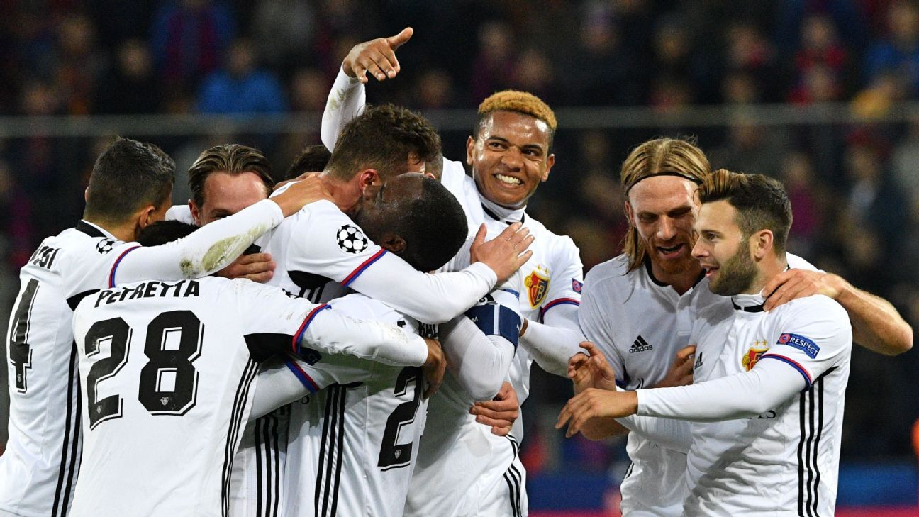 FC Basel players celebrate after opening the scoring against CSKA Moscow in the Champions League on Wednesday.