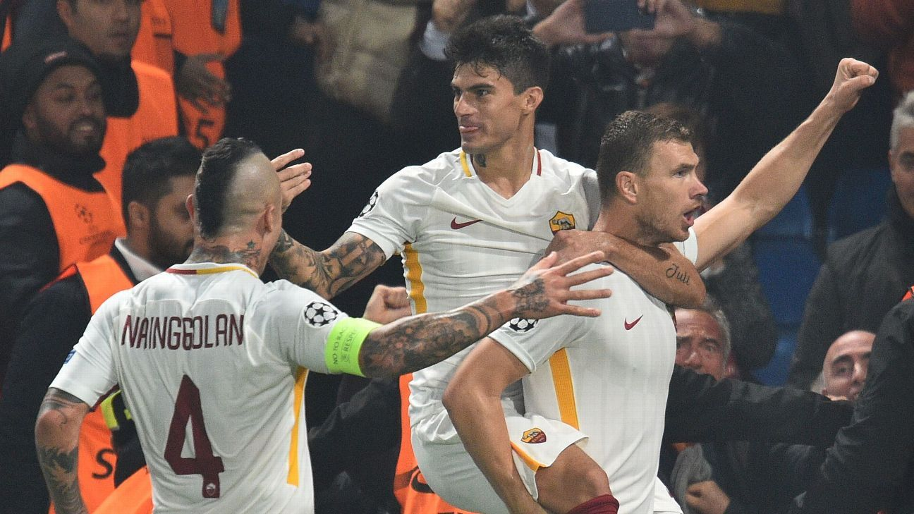Edin Dzeko's delightful double for Roma highlighted by spectacular volley