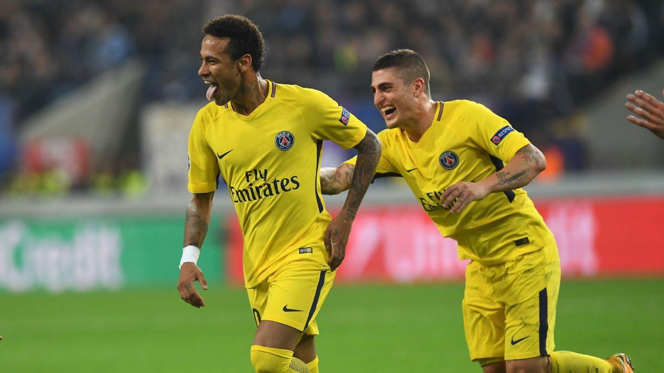 Kylian Mbappe, Edinson Cavani and Neymar all strike in rout of Anderlecht