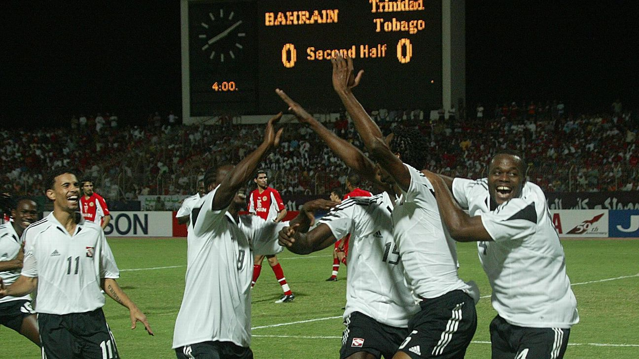 Trinidad & Tobago players celebrate World Cup playoff win vs. Bahrain