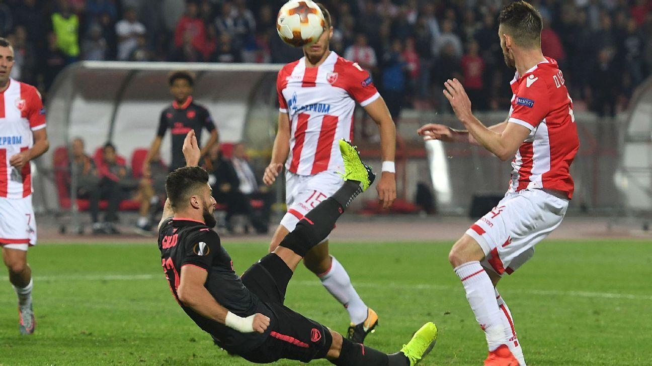 Olivier Giroud goal v Red Star