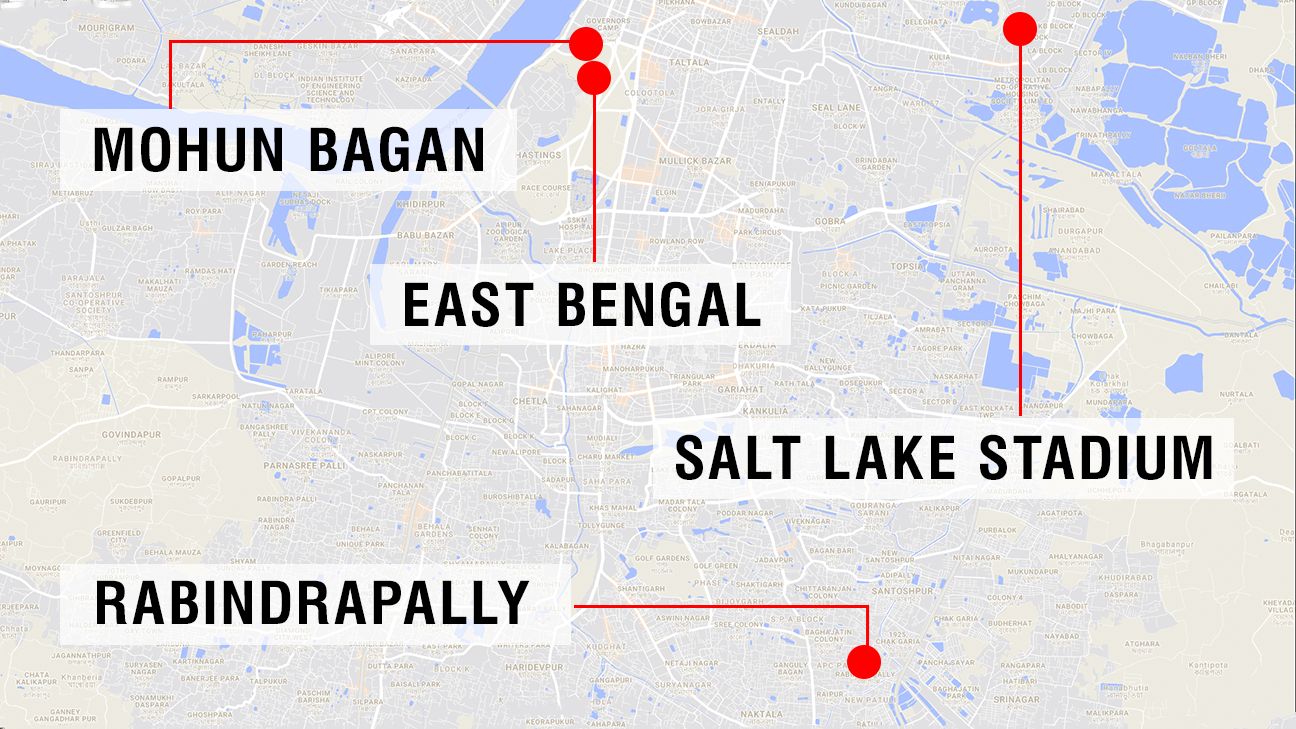 A map of Kolkata showing the various locations this reporter visited.