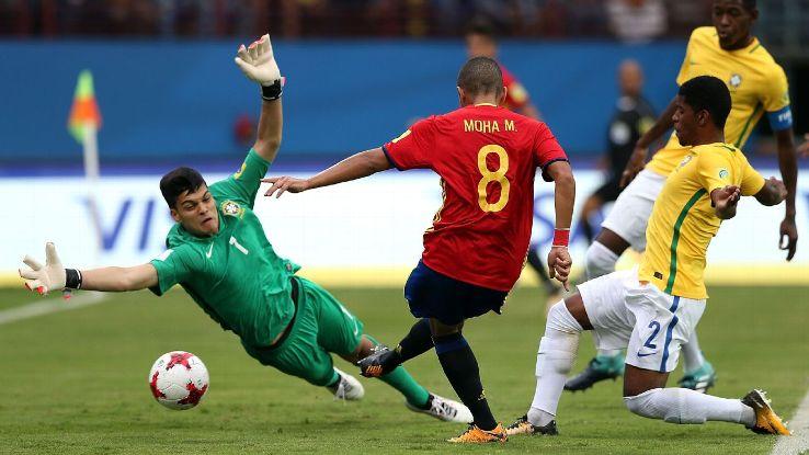 Brazil U-17 keeper Brazao in action against Spain