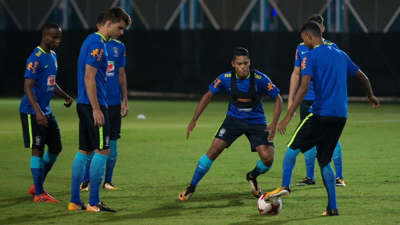 Brazil U17 players train ahead of their quarterfinal against Germany in Kolkata.