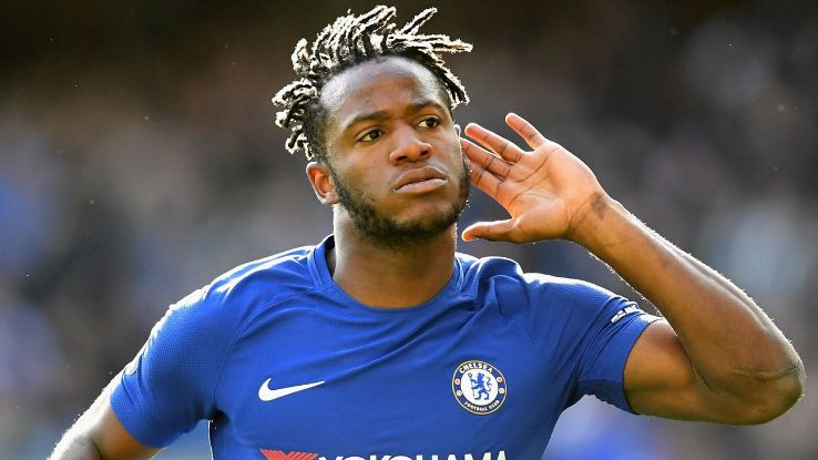 Michy Batshuayi celebrates scoring his equaliser for Chelsea against Watford.