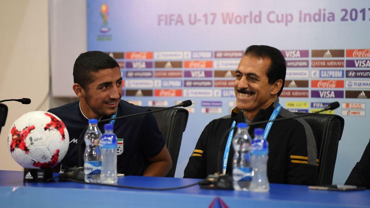 Iran captain Allahyar Sayyad and coach Abbas Chamanian