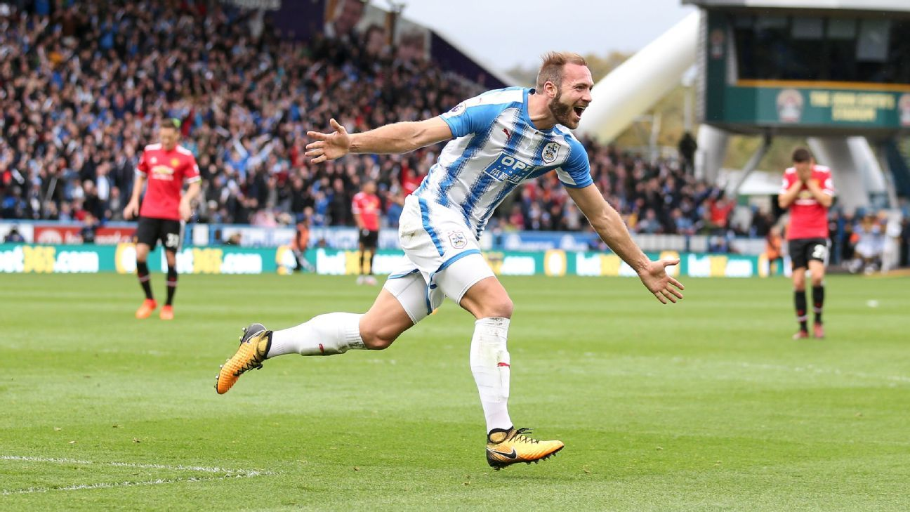 Laurent Depoitre netted Huddersfield's second against Manchester United.