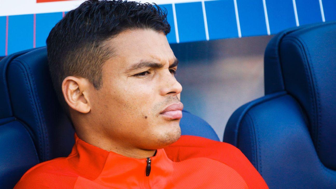 Thiago Silva looks on from the Paris Saint-Germain bench