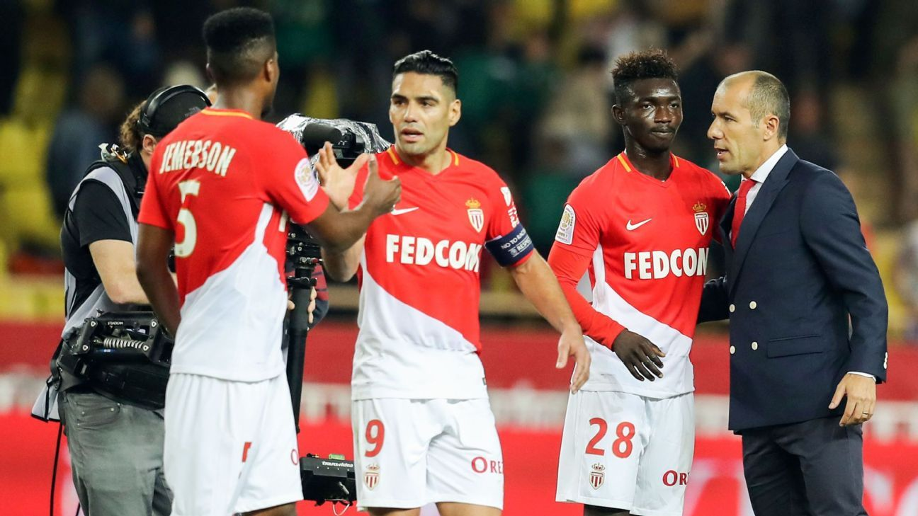 AS Monaco players celebrate 2-0 Ligue 1 win over Caen