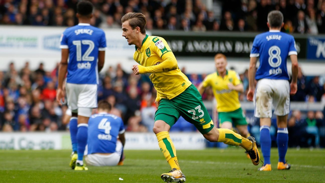 James Maddison celebrates his winner for Norwich City at Ipswich.
